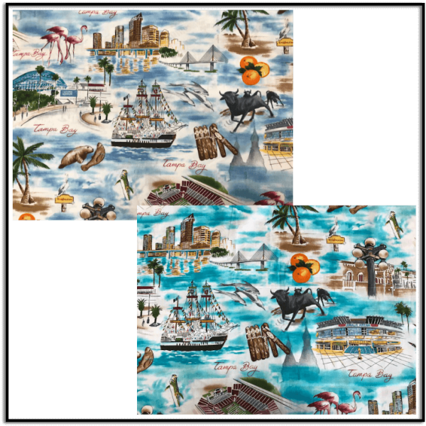 Tampa Bay Fabric in Blue or Teal available exclusively at Keep Me In Stitches