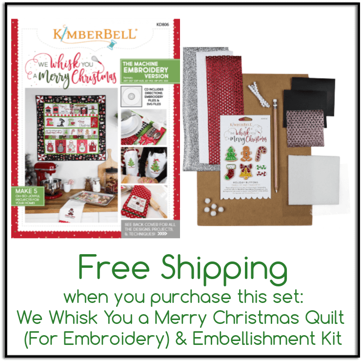 Christmas Quilt.We Whisk You A Merry Christmas Quilt For Embroidery Embellishment Kit Set