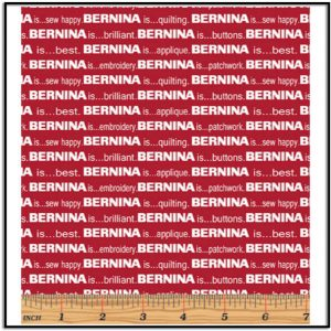 BERNINA Fabric by Benartex, red with white letters