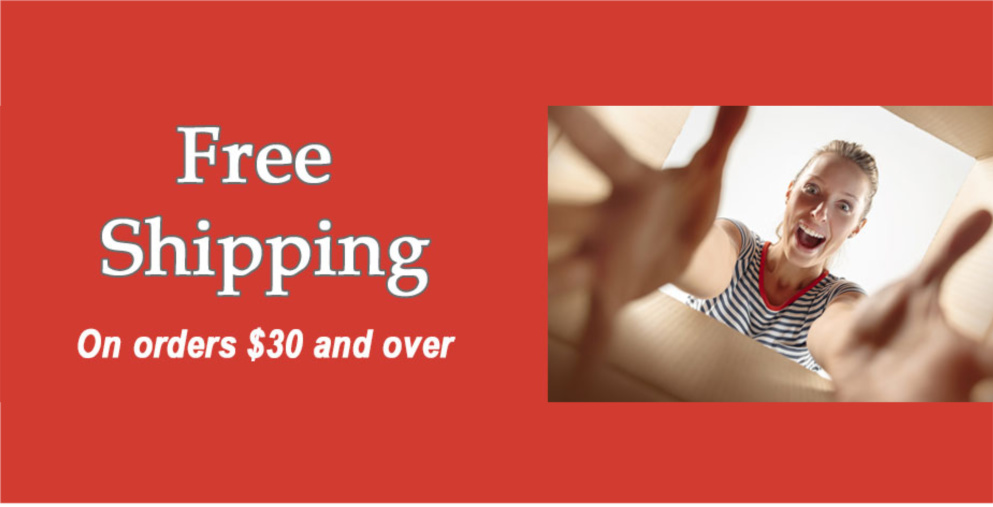 free shipping on orders $30 and over