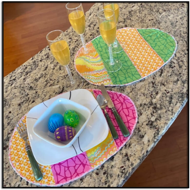 Easter Egg Placemats or Table Runner Kit for Sewing Machine or Serger