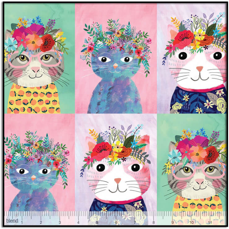 Floral Kitty 24-inch Panel by Blend Fabrics