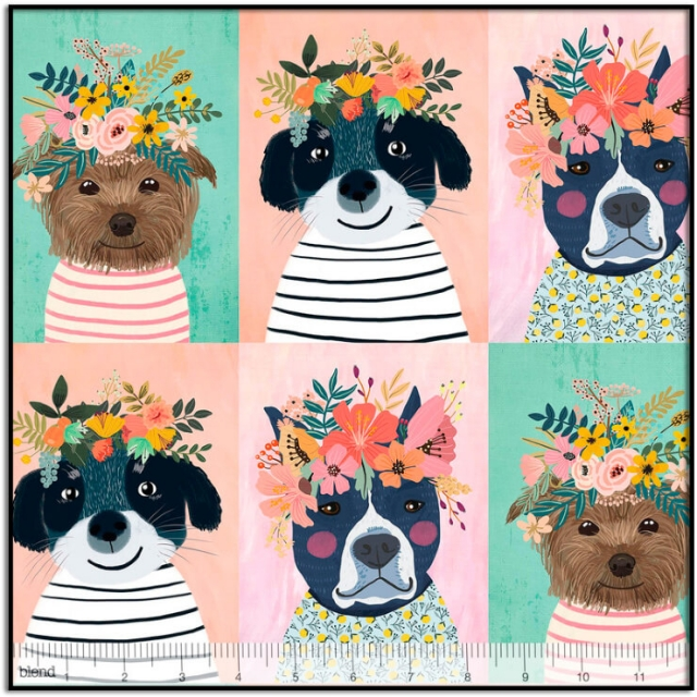Floral Puppy 24-inch Panel by Blend Fabrics