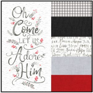 Timeless Treasures Bundle #1 Oh Come Let us Adore Him Panel and 5 Half-Yard Cuts
