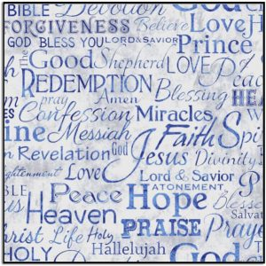 Timeless Treasure Faith Religious Phrases Blue