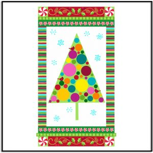 Very Merry Modern Tree on White Background fabric panel