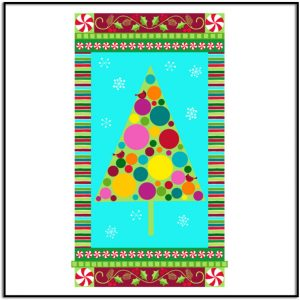 VERY MERRY Modern Tree Panel with Blue Background A-9395-X