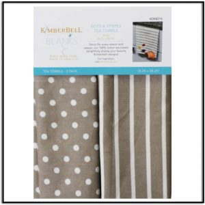 Kimberbell Dots & Strips Tea Towel: Warm Grey
