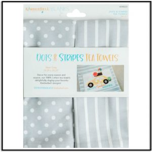 Kimberbell Dots & Strips Tea Towel: Steel Grey