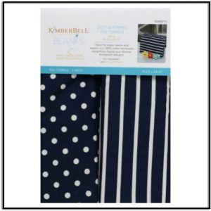 Kimberbell Dots & Stripes Tea Towels Navy (Set of 2) KDKB213