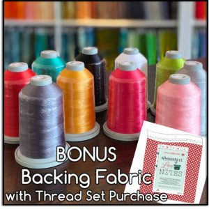 Kimberbell Love Notes Glide Embroidery King Spool Thread Set and Coordinating Backing Fabric