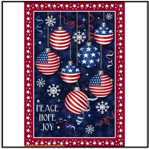 Windham Fabric Christmas USA Peace Love Joy Panel 51665DP-X