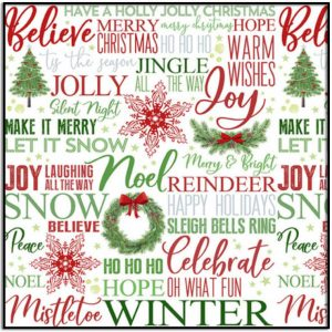 Holiday Heartland - Holiday Words on White Q9214-86 from Henry Glass