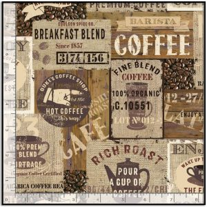 Packed Coffee Signs Brown from Timeless Treasures