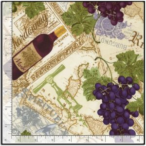Wine and Grapes on Text from Timeless Treasures