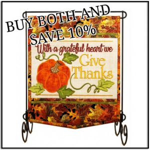 With a Grateful Heart Wall Hanging by Janine Babich and Stand