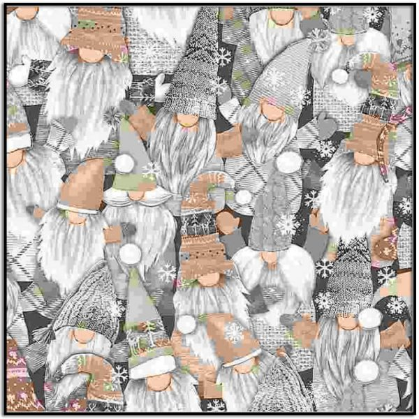 Packed White Holiday Gnomes from Timeless Treasures