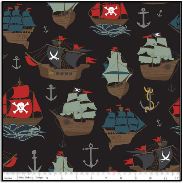 Pirate Tales Main Black from Riley Blake C9680-BLACK