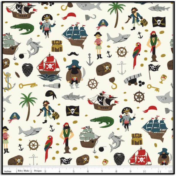 Pirate Tales Scatter Cream from Riley Blake C9681-CREAM