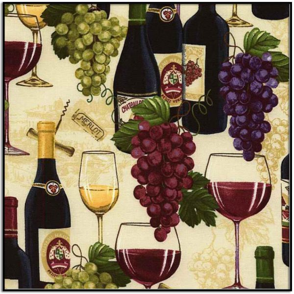 Wine Bottles and Grapes from Timeless Treasures