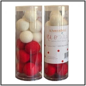 Kimberbell Red and White Wool Felt Balls