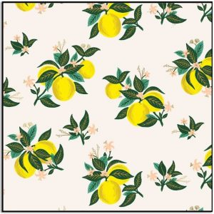 Primavera Citrus Blossom Lemon Metallic Fabric RP301-LE3M