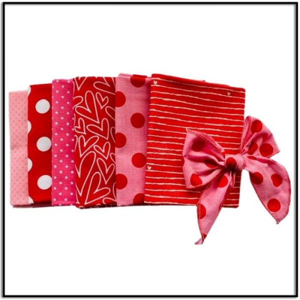 Bundle of Love 6 Valentine-Themed Fat Quarters