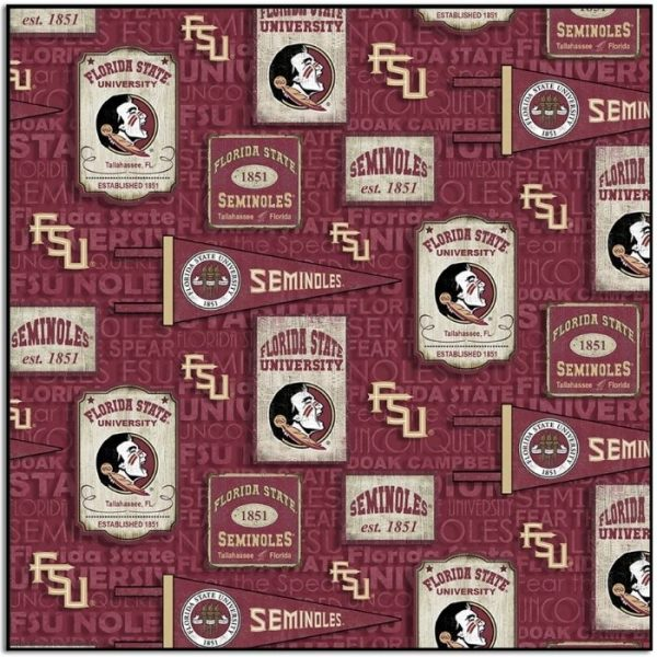 Floriday State University Seminoles Vintage Pennants Fabric FSU-1267