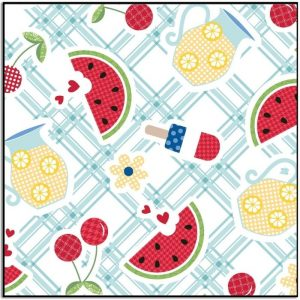 Kimberbell Red White and Bloom Table Cloth Blue MAS9902-Q