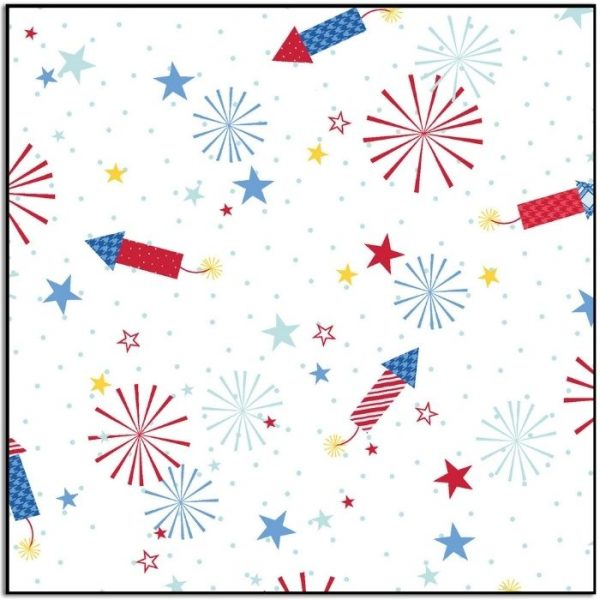 Kimberbell Red White and Bloom Fireworks White MAS9903-W
