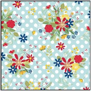 Kimberbell Red White and Bloom Polka Dot Flower Blue MAS9904-Q