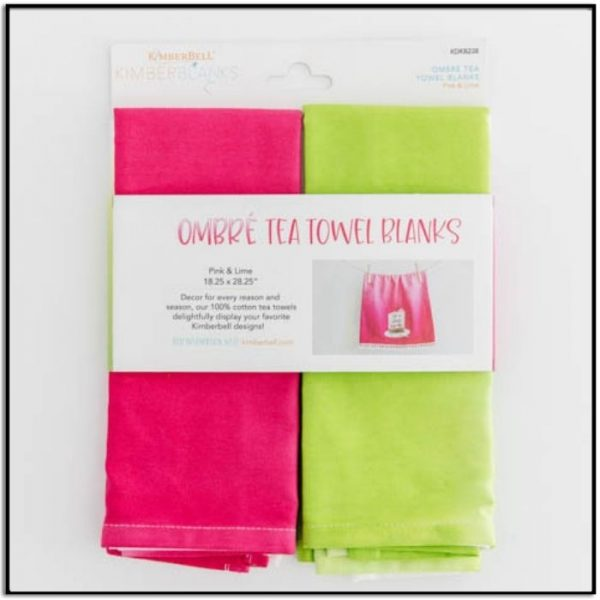 Kimberbell Ombre Tea Towel Blanks Pink and Lime KDKB238