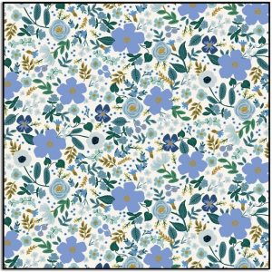 Rifle Paper Co Garden Party Wild Rose Blue Metallic RP303-BL6M