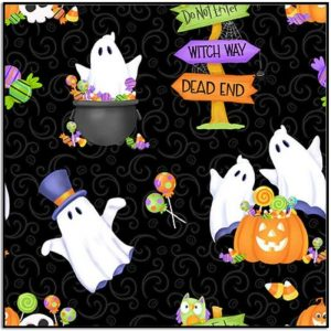 Henry Glass Glow Ghosts Tossed Ghosts Pumpkins Candy 9607G-99 Black