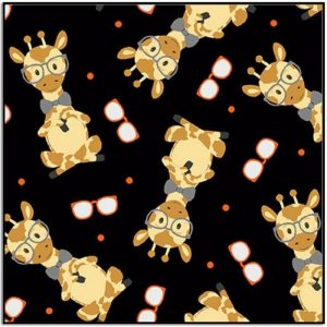 Wild and Free Tossed Giraffes 9564-93 Black