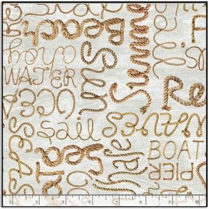 Timeless Treasures Welcome to the Beach - Rope Words C8289-NATURAL